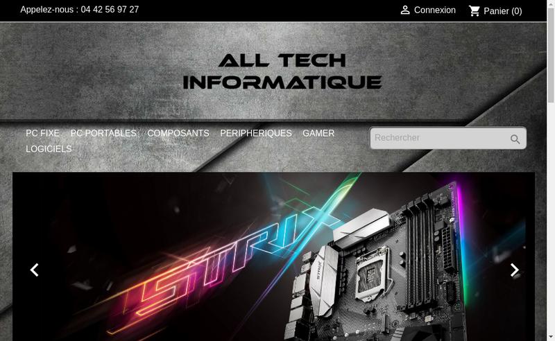 Capture d'écran du site de All Tech Informatique