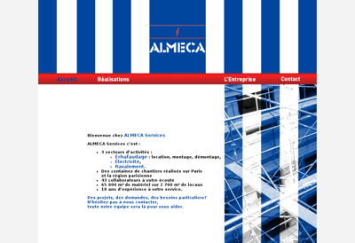Capture d'écran du site de Almeca Services