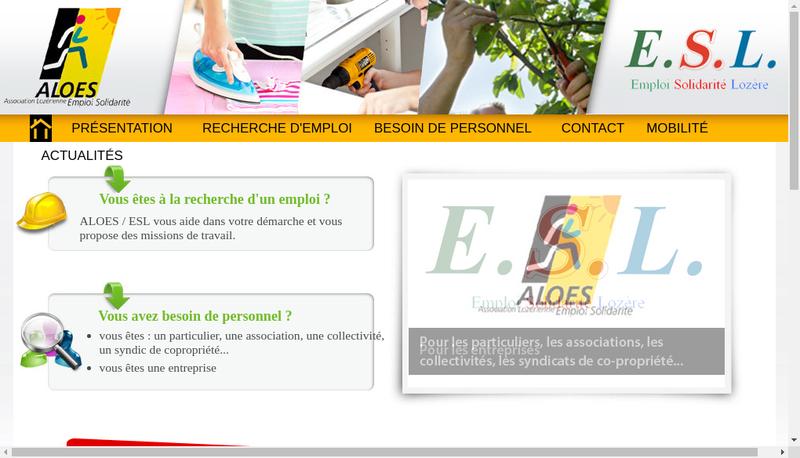 Capture d'écran du site de Emploi Solidarite Lozere