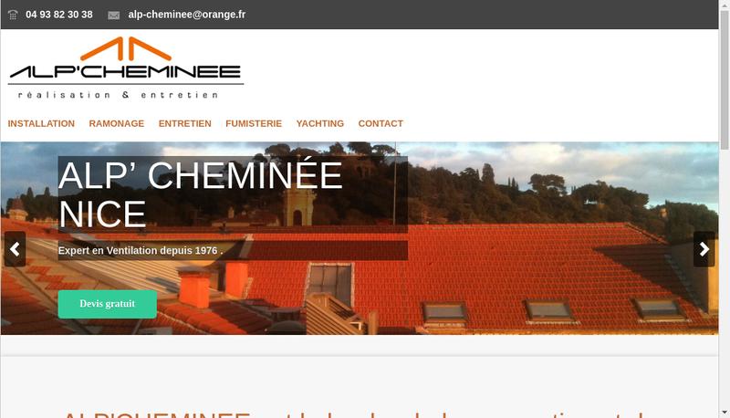 Capture d'écran du site de Alp Cheminee
