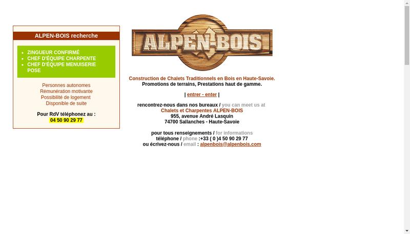 Capture d'écran du site de Alpen Bois