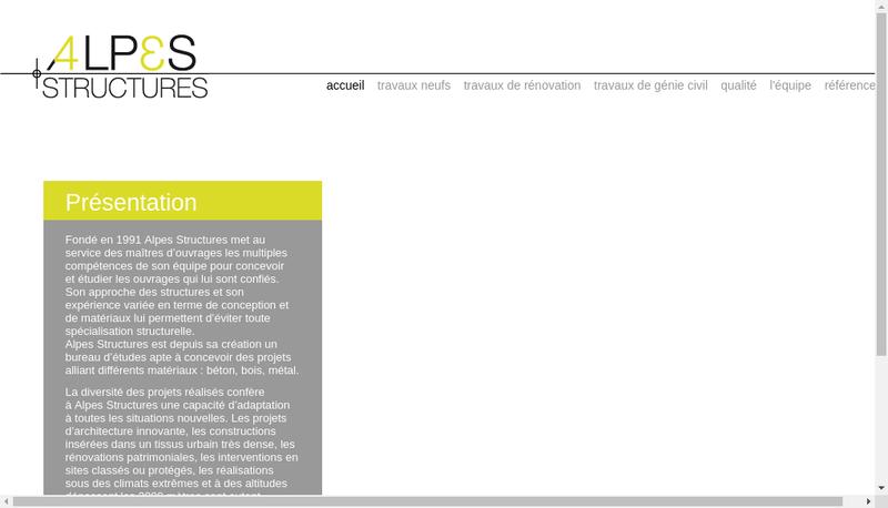 Capture d'écran du site de Alpes Structures
