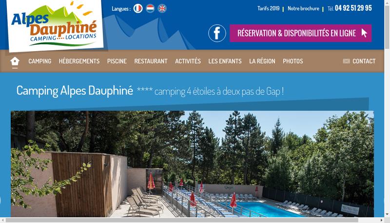 Capture d'écran du site de Alpes Dauphine Camping