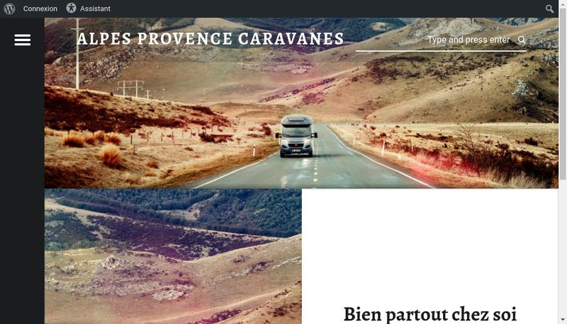 Capture d'écran du site de Alpes Provence Caravanes