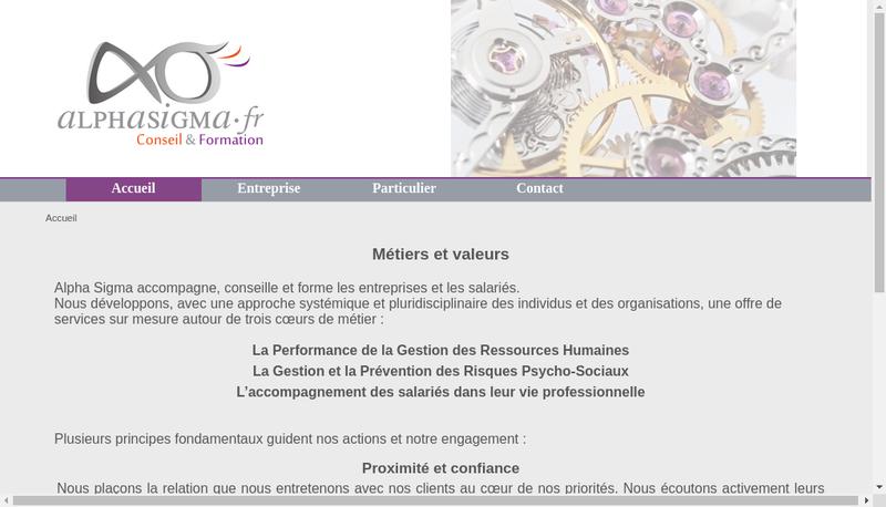 Capture d'écran du site de Alpha Sigma