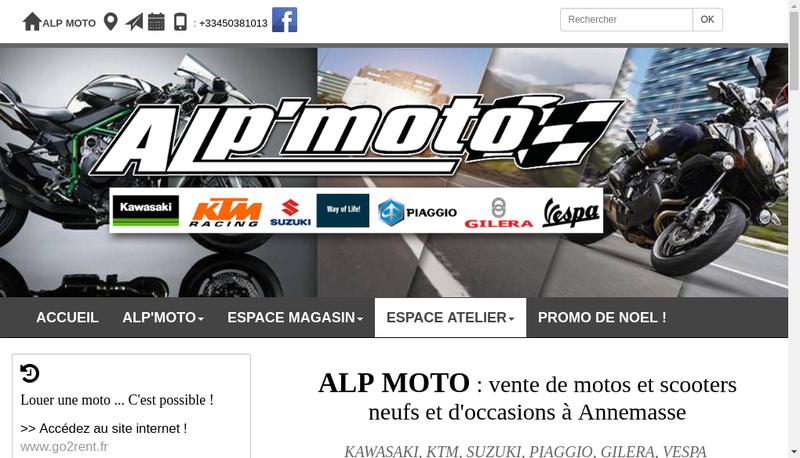 Capture d'écran du site de Alp'Moto