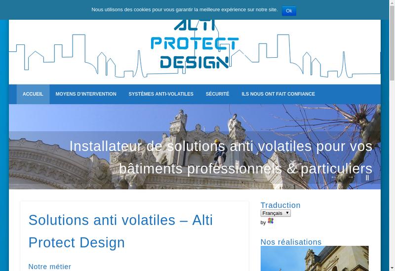 Capture d'écran du site de Alti Protect Design