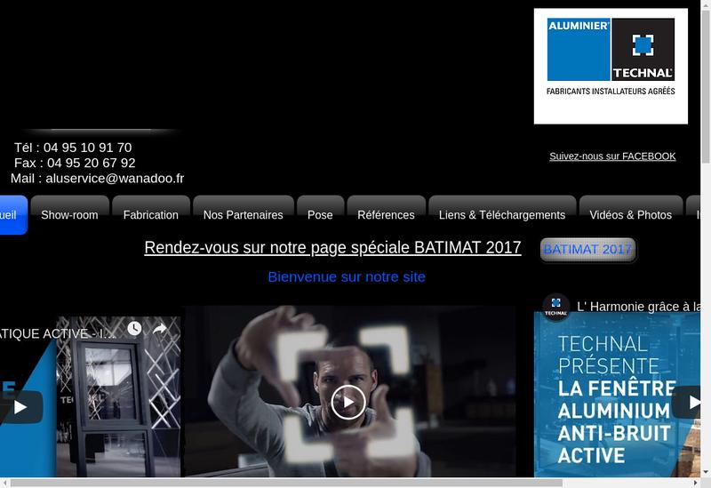 Capture d'écran du site de Miroiterie Alu Service