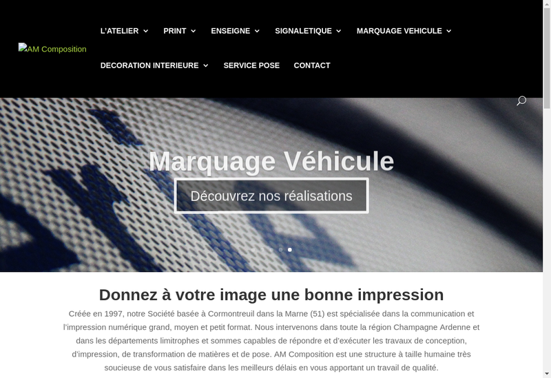 Capture d'écran du site de AM Composition