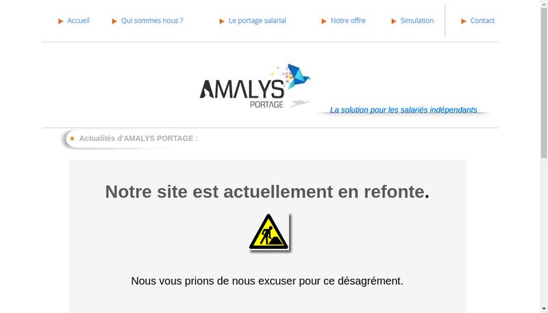 Capture d'écran du site de Amalys Portage