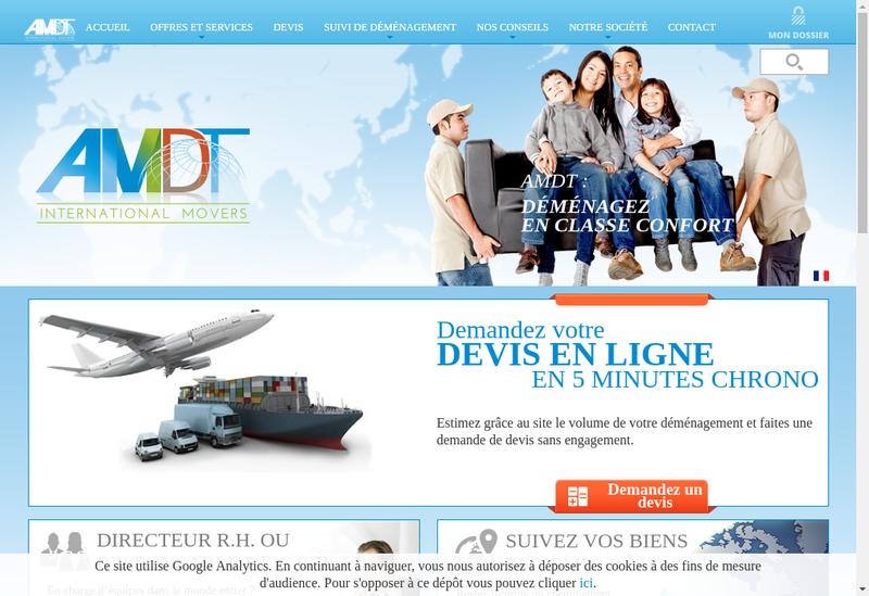 Capture d'écran du site de Air Mer Demenagements Transcontinentau