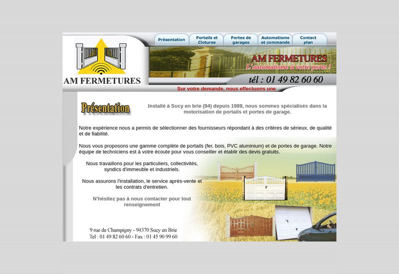 Capture d'écran du site de Am Fermetures