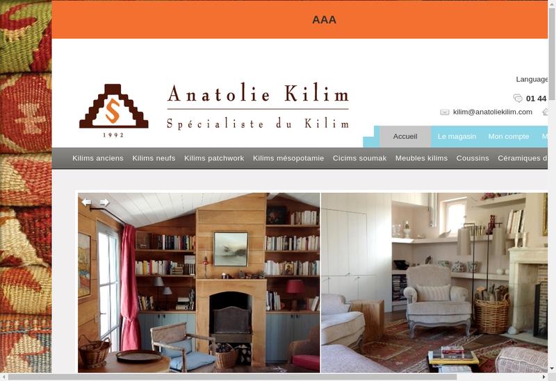 Capture d'écran du site de Anatole Kilim