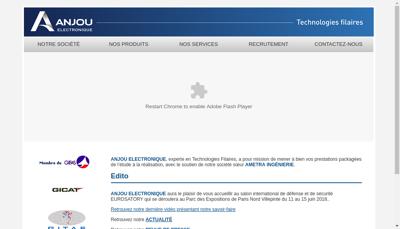 Capture d'écran du site de Anjou Electronique