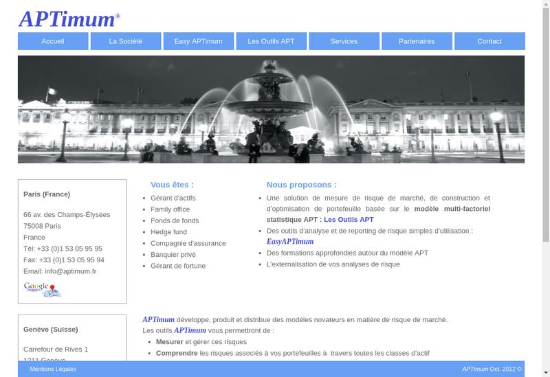 Capture d'écran du site de Aptimum Conseil