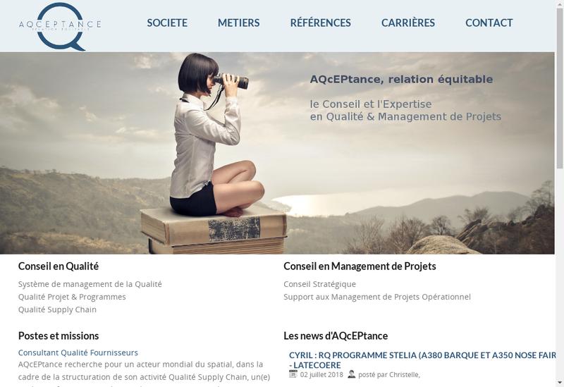 Capture d'écran du site de Aqceptance