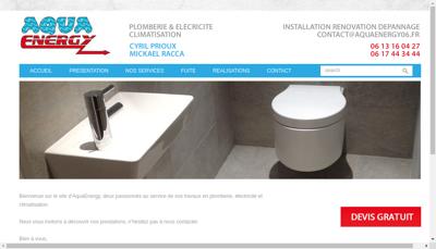 Capture d'écran du site de Aqua Energy
