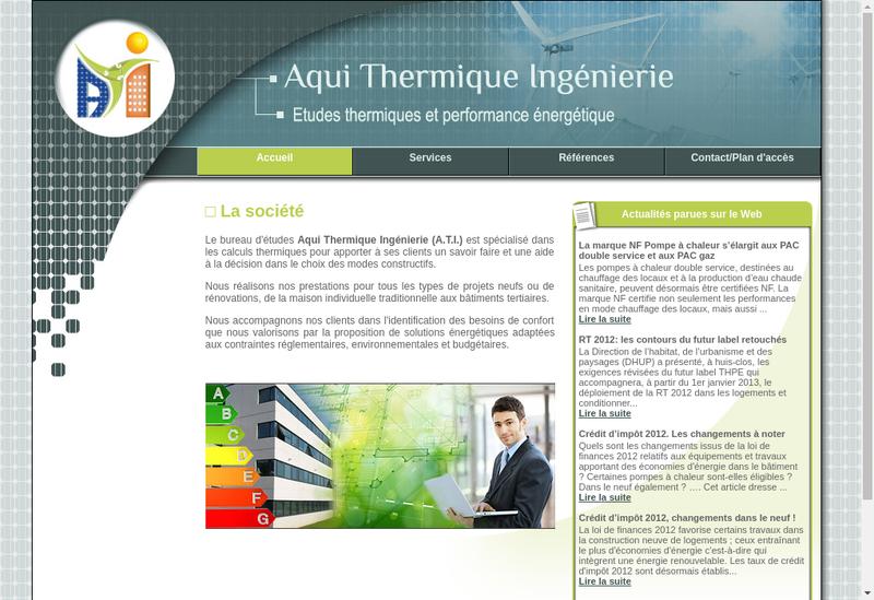 Capture d'écran du site de Aqui Thermique Ingenierie