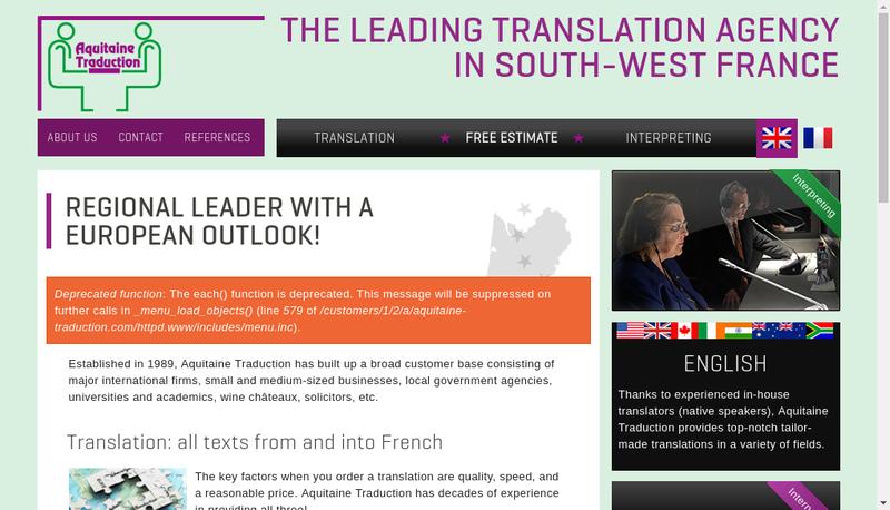 Capture d'écran du site de SARL Aquitaine Traduction