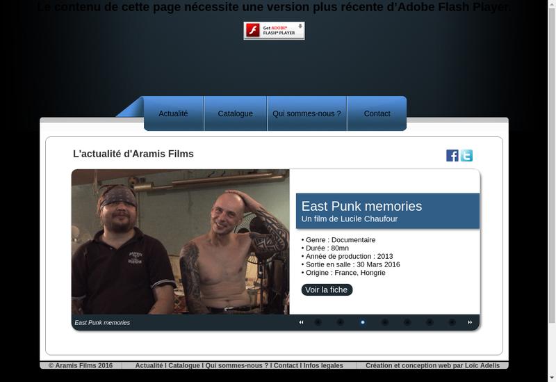 Capture d'écran du site de Aramis Films