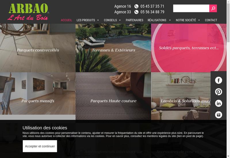 Capture d'écran du site de Arbao