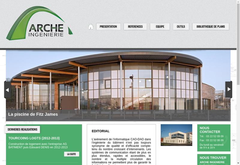Capture d'écran du site de Arche Ingenierie