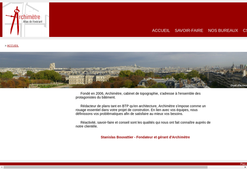 Capture d'écran du site de Archimetre