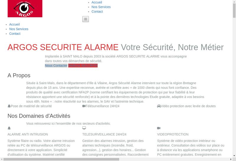 Capture d'écran du site de Omega Securite