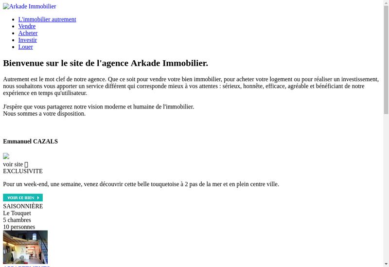 Capture d'écran du site de SARL Arkade