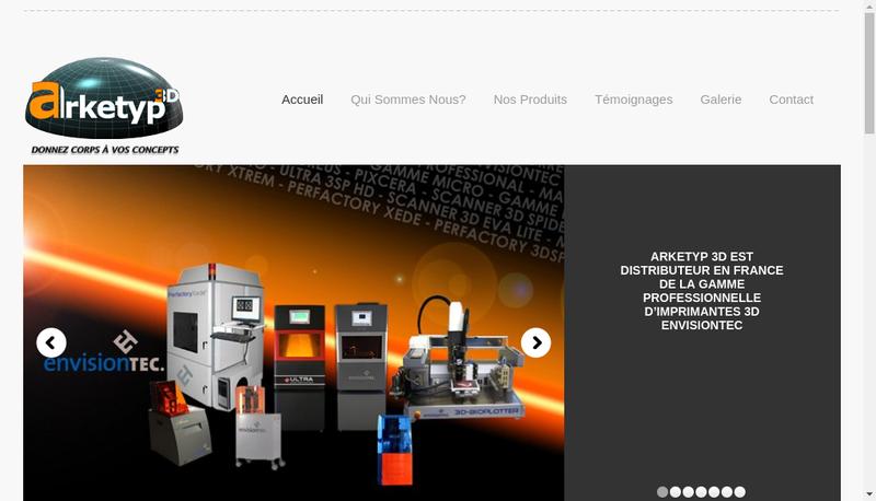 Capture d'écran du site de Arketyp 3D