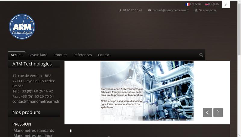 Capture d'écran du site de Arm Technologies