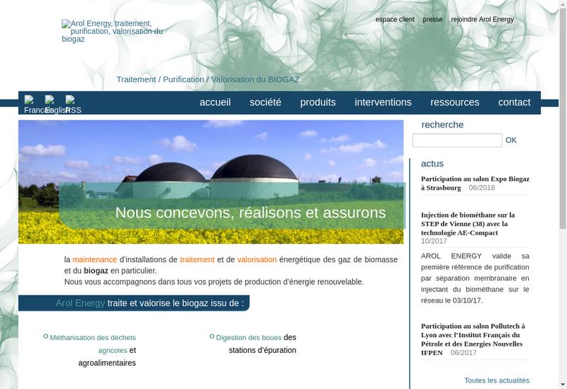 Capture d'écran du site de Arol Energy