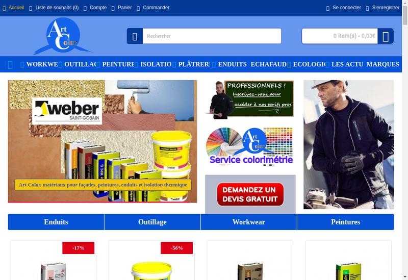 Capture d'écran du site de Art Color