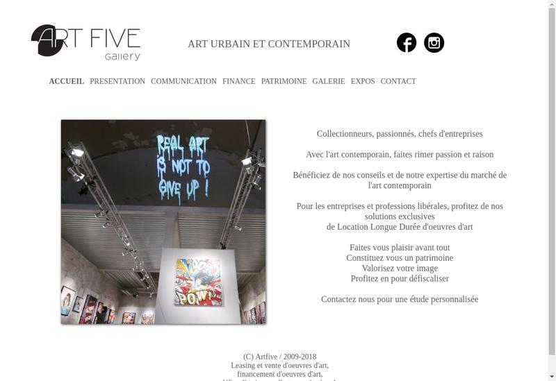 Capture d'écran du site de Art Five