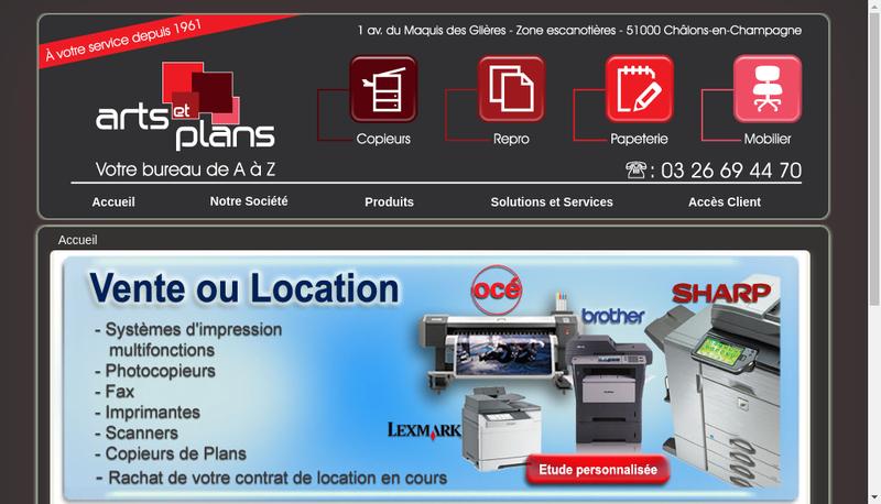 Capture d'écran du site de Arts et Plans