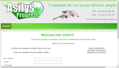 Capture d'écran du site de Asilys Proprete