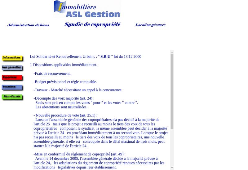 Capture d'écran du site de Asl Gestion