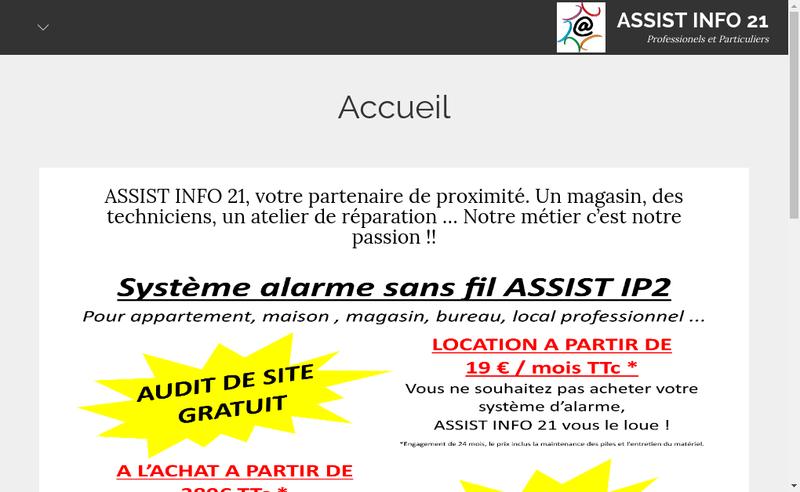 Capture d'écran du site de Assist Info 21