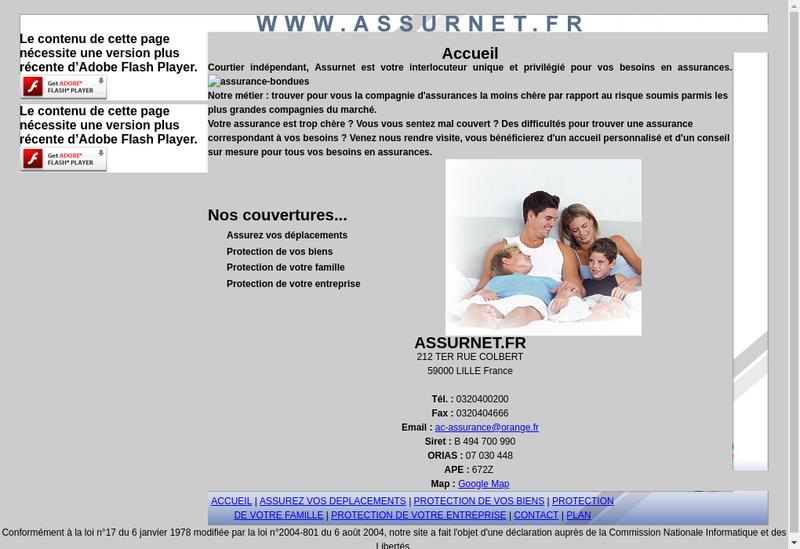 Capture d'écran du site de Ac Assurances