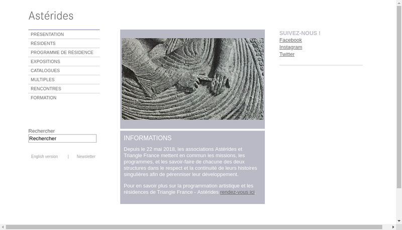 Capture d'écran du site de Association Asterides