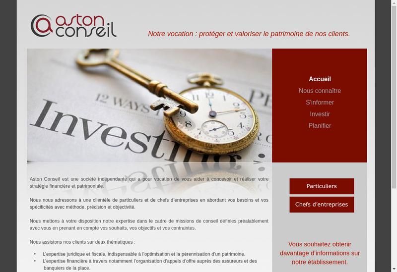Capture d'écran du site de Aston Conseil