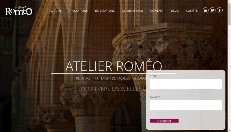 Capture d'écran du site de Atelier Romeo