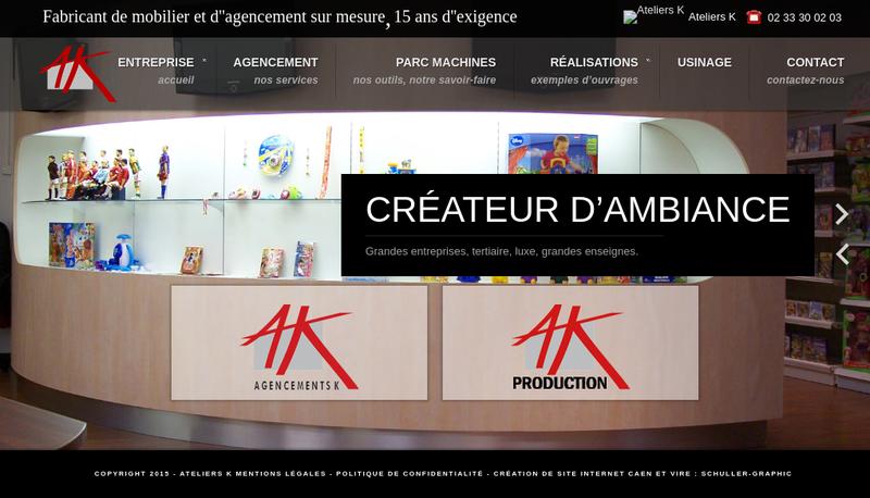 Capture d'écran du site de Ateliers K Production