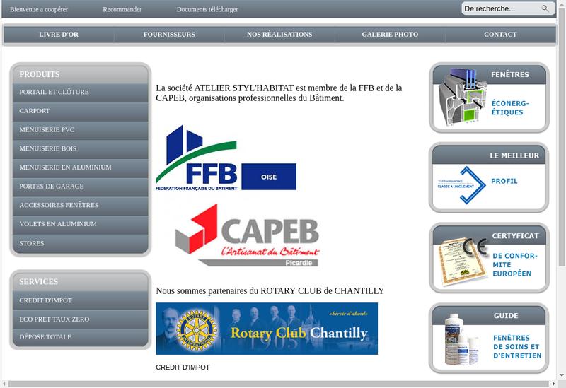 Capture d'écran du site de Atelier Styl Habitat
