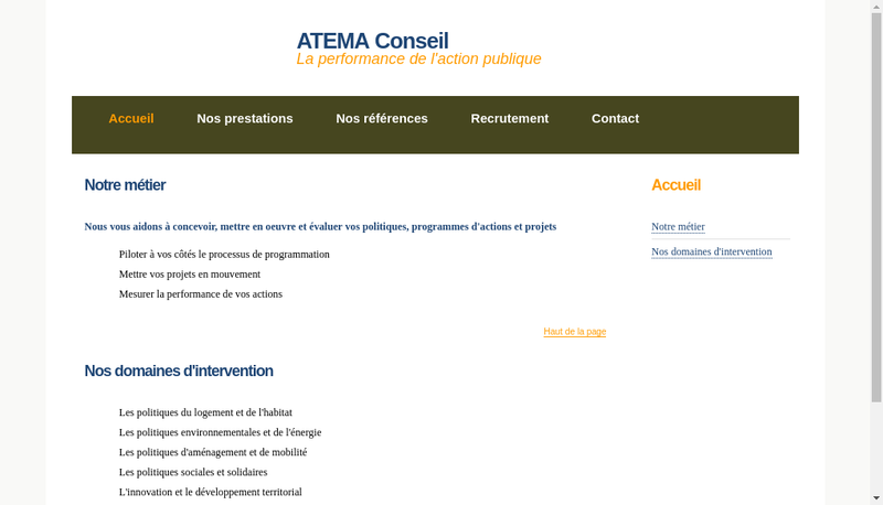 Capture d'écran du site de Atema Conseil