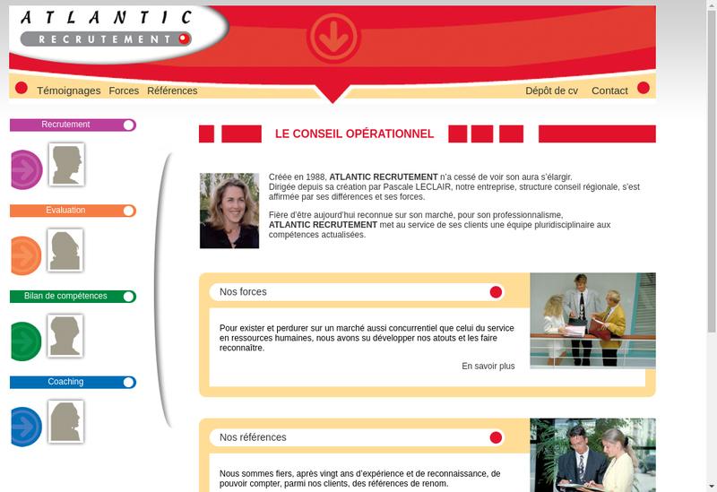 Capture d'écran du site de Atlantic Recrutement