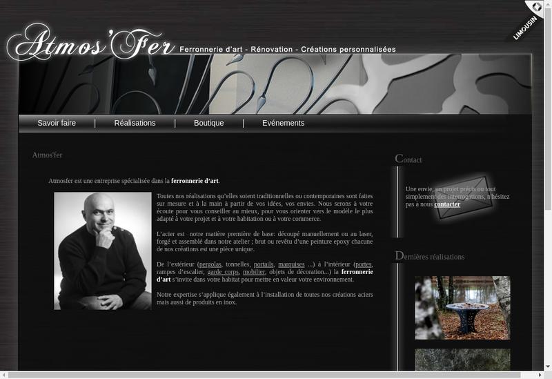 Capture d'écran du site de Atmos Fer