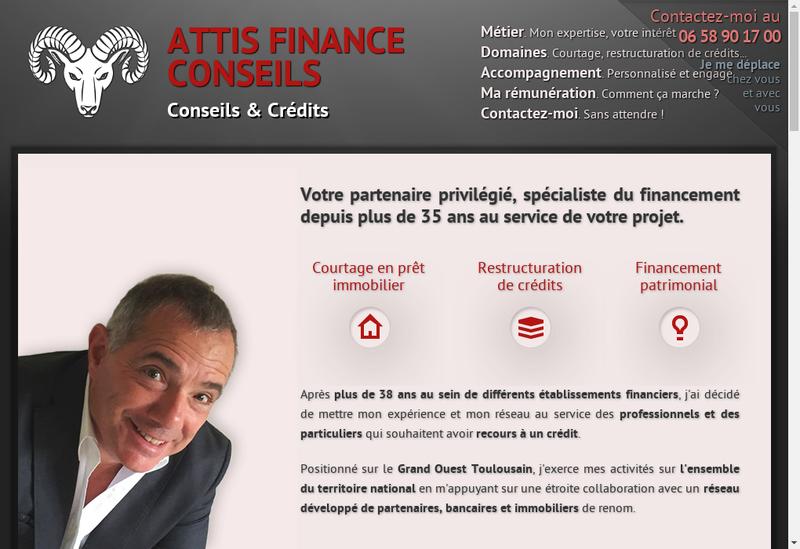 Capture d'écran du site de Attis Finance Conseils