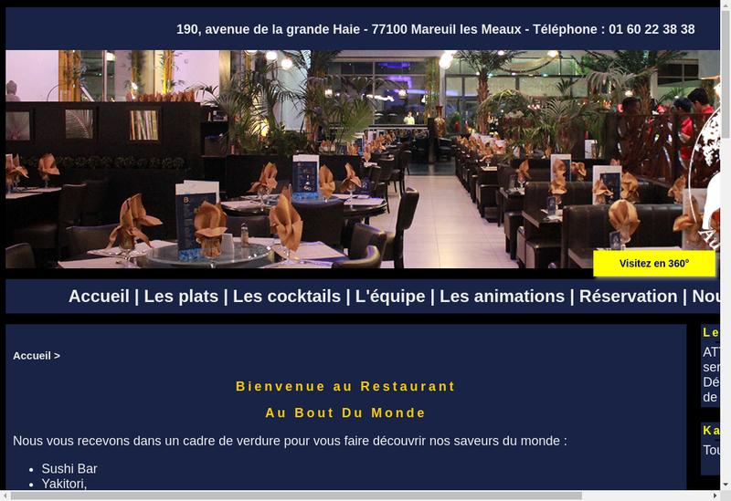 Capture d'écran du site de Au Bout du Monde