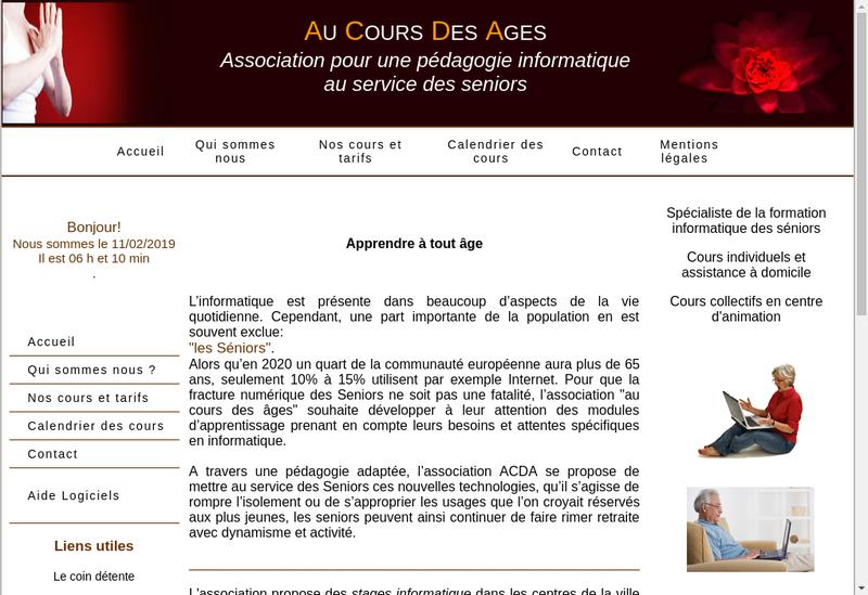 Capture d'écran du site de Au Cours des Ages
